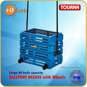 TOURNA BALLPORT Deluxe with Wheels Holds 80 Tennis Balls PickUp Basket - BLUE
