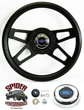 "1970-1976 Torino and Gran Torino steering wheel BLUE OVAL 13 1/2"" BLACK 4 SPOKE"