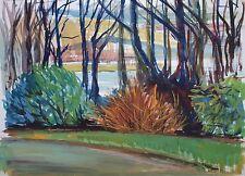 Elspeth Buchanan (1915-2011) Paesaggio vista attraverso gli alberi. scozzese moderno.