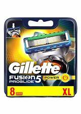 8 x GILLETTE FUSION 5 PROGLIDE POWER BLADES XL 100% GENUINE UK STOCK