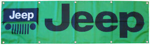 Jeep Flag Off Road Grille Green 2x8ft Banner US Seller