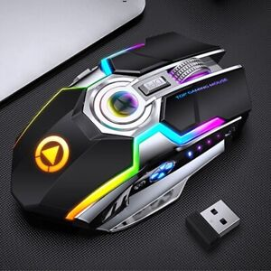 Gaming Mouse Mice USB Rechargeable 1600 DPI 2.4G RGB Spectrum LED Backlit Laptop