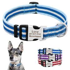 Reflective Braided Personalised Dog Collar Custom Pet ID Nameplate S M L XL XXL