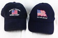 BUFFALO NIAGARA HONOR FLIGHT US WINGS LOT 2 BASEBALL HAT CAP BLUE FLAG STRAPBACK