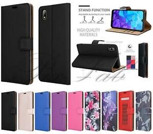 For Huawei Y5 (2019), Genuine Black Leather Wallet Phone Case + 9H Screen Glass