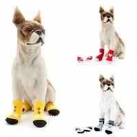 US S/M/L/XL 4Pc Pet Dog Cat Non-slip Socks Puppy Knit WarmBottom Shoes Slippers