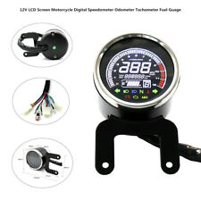 12V LCD Screen Digital Motorcycle Speedo Odometer Tachometer Fuel Guage Device