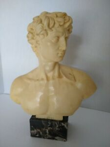 Bust David Vintage A. Santini Sculptor Classic Figure Made. Italy. Marble Base.