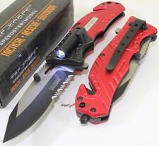 TAC-FORCE Fireman Fire Fighter Rescue LED Light Spring Assisted Pocket Knife