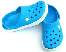 CROCS CROCBAND BLUE/WHITE RUBBER CLOGS MULES SHOES SZ 7