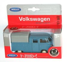 Welly - VW Volkswagen T1 Double Cab Covered PickUp (Blue) - Model Scale 1/39