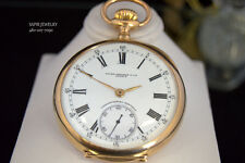 ANTIQUE 1900'S PATEK PHILIPPE CHRONOMETRO GONDOLO 18K Y.GOLD POCKET WATCH 52MM