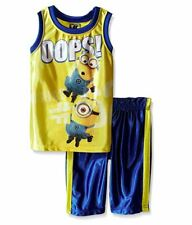 Universal Boys' Little 2 Piece Minons Dazzle Muscle Top and Short Set, Yellow, 4