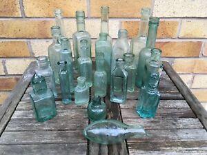 21 Vintage Green Glass bottles