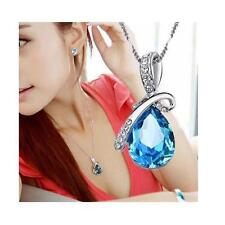 Unique Teardrop Blue Crystal Necklace Love Gift For Her Wife Women Christmas
