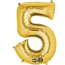 """Number 5 Gold Foil Balloon 16"""" 40cm Air Fill Age Name Birthday Anniversary"""