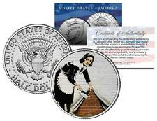BANKSY * MAID IN LONDON * Colorized JFK Half Dollar US Coin Street Art England