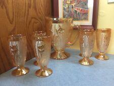 Jeanette Iris And Herringbone Marigold Iridescent Pitcher And 6  Glasses (7325)