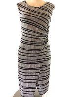Ann Taylor Loft Womens Black Dress Size S Petite Sheath Striped Geo Print Career