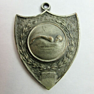 Vintage Pewter Athletic Swimming Award Medal Pendant