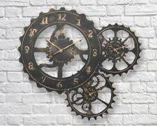 Large Retro Vintage 62cm Industrial Metal 3 Gear Wheel Display Wall Art Clock