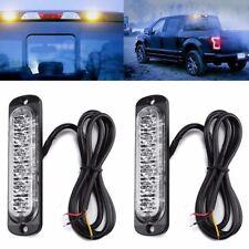 2PCS Amber Recovery Strobe 6 LED Flashing Light Grill Breakdown Beacon Lamp Car