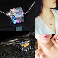 Fancy Silver Plated Aurora Sugar Crystal Pendant Necklace Mother's Day Gift New