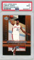 LeBron James Cleveland Cavaliers 2003 Upper Deck Exclusives Rookie Card #1 PSA 9