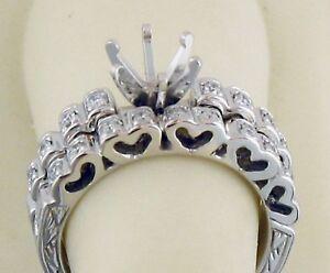 Heart Shape Engrave Style Semi Mount Diamond wedding Set 14K Solid White Gold