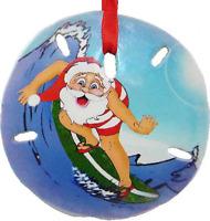 Adorable Hand Painted Christmas Ornament Sand Dollar Surfing Santa