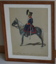 ANTIQUE 1864 Military Battlefiled Watercolor Painting General Riding Horse