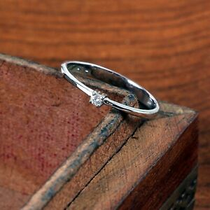 Natural Diamond Ring Dainty Engagement Tiny Minimalist Thin 925 Sterling Silver