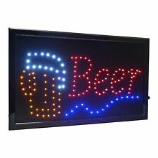 """Large Beer Bar High Visible Led Light Business Open Sign Chain Switch 21.5""""x13"""""""