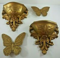 Lot 2 Homco Syroco Gold Wall Pockets #6050 plus 2 Butterflies 1971 1978