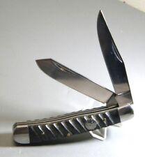 """JB Outman 2 Blade 4"""" Trapper Folding Pocket Knife Black Ram Horn Handles"""