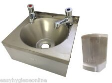 SINK with PAIR PUSH TAPS Stainless Steel HAND WASH BASIN Waste, Plug & Trap