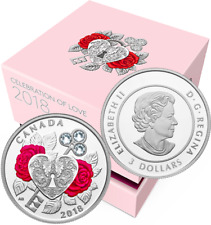 2018 Celebration Love $3 Pure Silver Proof Coin Canada: Heart Key Crystals