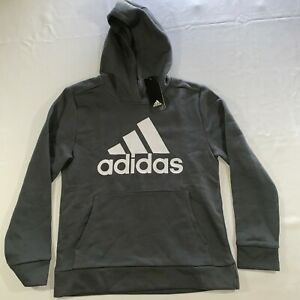 Adidas Boys Gray Cotton Long Sleeve Pockets Graphic Pullover Hoodie Size 10/12M