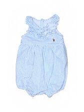 Baby Girl Ralph Lauren Blue White Gingham Bubble Romper Size 3 Months