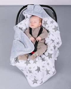 BlueberryShop Soft Fleece Baby Car Seat Travel Blanket with a Hood, Embroidered