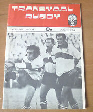 Transvaal Rugby Magazine, July 1974 (Features British Lions).