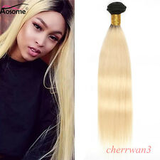 Ombre Blonde Brazilian Human Hair Weft  Straight Real Human Hair Extensions 8A