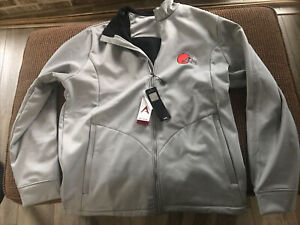 Men's NFL Cleveland Browns Golf Jacket Large Antigua Silver Polyester Full Zip L