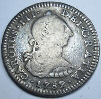 1782 FF Spanish Silver 1 Real Piece of 8 Reales Colonial US Pirate Treasure Coin
