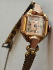 Vintage Bulova Ladies' Mechanical Wind Watch w/ 14kt GF case and Security Chain