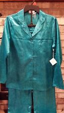 LADIES S Luxury PAJAMAS Silky Rich Colors Two-Toned Teal    Tag = $50 NEW
