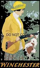 ANTIQUE WOMAN HUNTING SETTER MODEL 12 WINCHESTER ADVERTISING REPRO PHOTO PRINT
