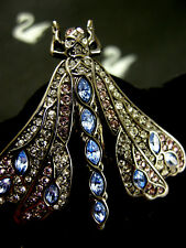 SIGNED SWAROVSKI BLACK DIAMOND PAVE' CRYSTAL DRAGONFLY  PIN~BROOCH RETIRED NWT