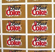 44 Diet Coke Soda Pop Stickers Coca Cola USA Adv Sheet