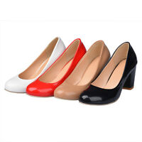 Womens Round Toes Shoes Synthetic Leather Block High Heels Pumps US Size S224